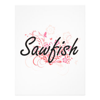 Sawfish with flowers background 21.5 cm x 28 cm flyer