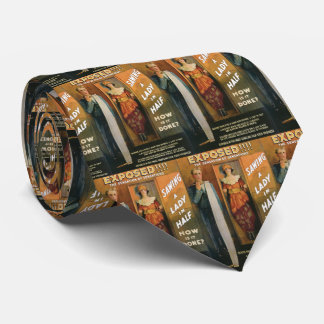 Sawing A Lady In Half ~ Magician Vintage Magic Act Tie