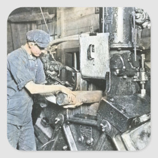 Sawmill Workers Magic Lantern Slide 3 Square Sticker