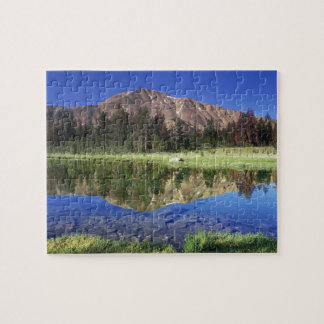 Sawtooth Mountains reflected in Fourth of July Jigsaw Puzzle