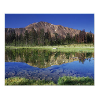 Sawtooth Mountains reflected in Fourth of July Poster