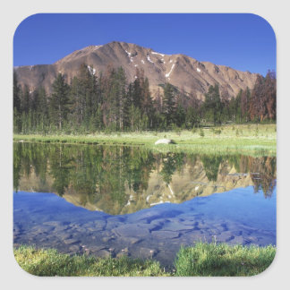 Sawtooth Mountains reflected in Fourth of July Square Sticker
