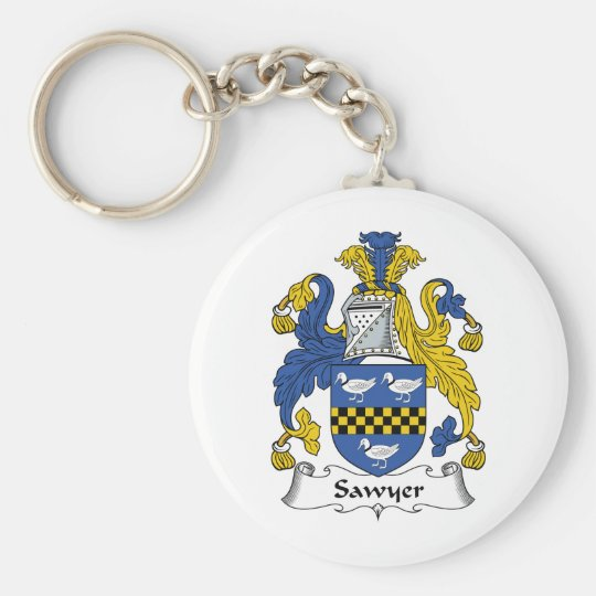 Sawyer Family Crest Basic Round Button Key Ring