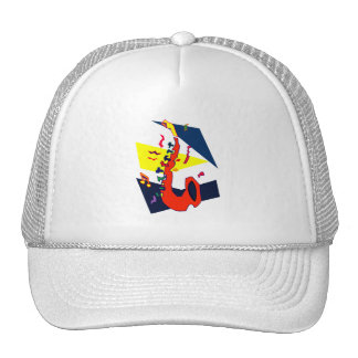 Sax Abstract Blue Yellow Orange Graphic Hats