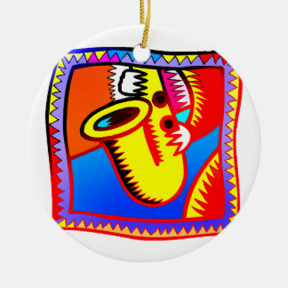 Sax and hands bright coloured graphic Saxophone Christmas Ornament