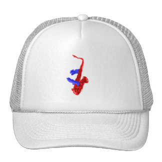 Sax design two hands red and blue version trucker hat