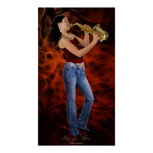 """""""SAX FOR HIRE"""" SAXOPHONE Music Lover Art Poster"""