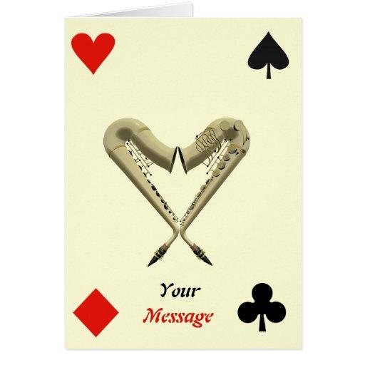 Sax of Hearts - Diamond, Spade, Club Playing Card