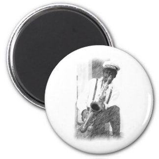 Sax Player by Hart 6 Cm Round Magnet