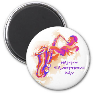 Sax Player for Saxophone Day 6 Cm Round Magnet