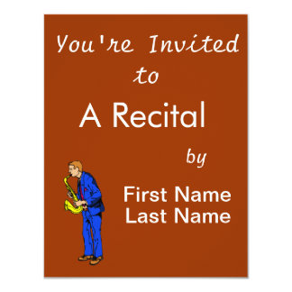 Sax Player Male Blue Suit Side View Music Graphic 11 Cm X 14 Cm Invitation Card
