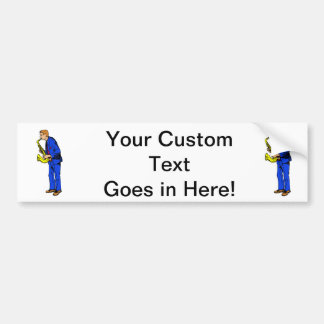 Sax Player Male Blue Suit Side View Music Graphic Bumper Sticker