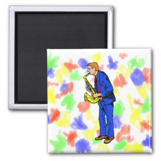 Sax Player Male Blue Suit Side View Music Graphic Square Magnet