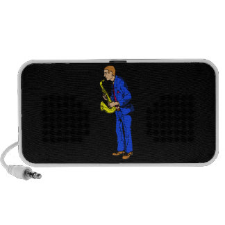 Sax Player Male Blue Suit Side View Music Graphic Mini Speaker