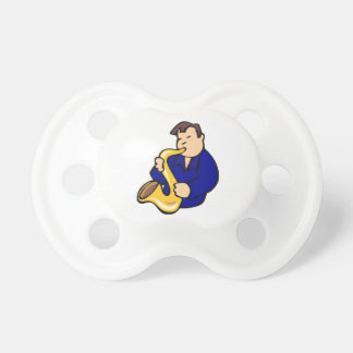 sax player man abstract blue.png baby pacifiers