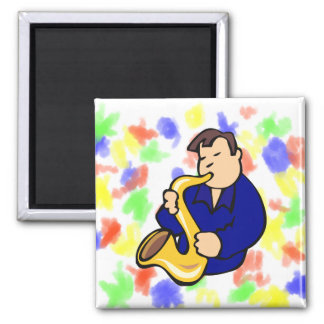 sax player man abstract blue.png square magnet