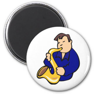 sax player man abstract blue.png 6 cm round magnet