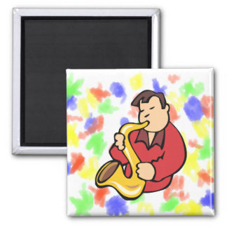 sax player man abstract red.png square magnet