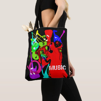 Sax Player Musical Instrument Medley Music Graphic Tote Bag