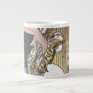 sax player posterized saxophone golden 20 oz large ceramic coffee mug