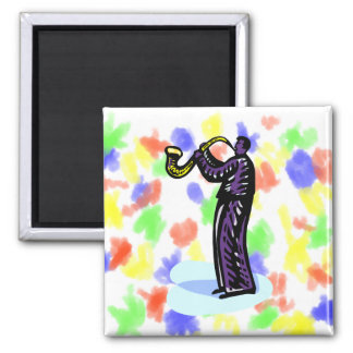 Sax Player Stylized Purple Version Square Magnet