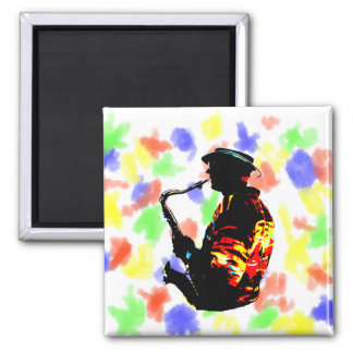 Sax Player Tropical Side View Square Magnet