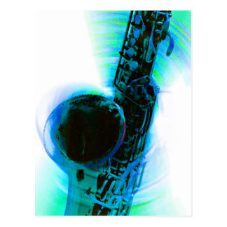 Sax Spin Blue Post Cards