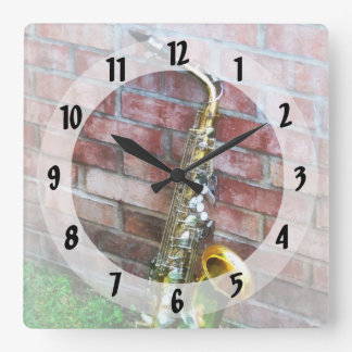 Saxophone Against Brick Square Wall Clock