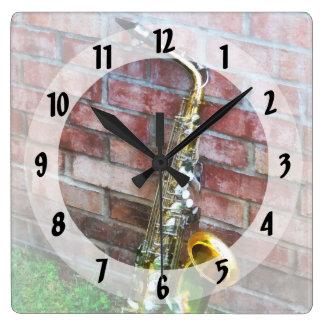 Saxophone Against Brick Wallclock