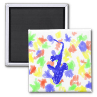 Saxophone and hands, blue version square magnet