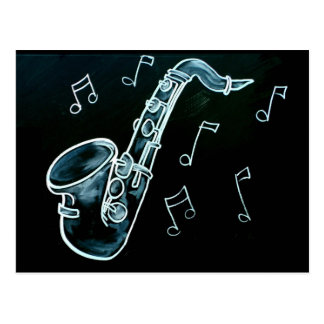 Saxophone And Music Notes Postcard