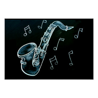 Saxophone And Music Notes Poster