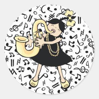 Saxophone Baby Round Sticker