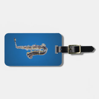 Saxophone cartoon luggage tag