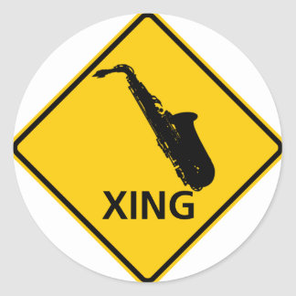 Saxophone Crossing Highway Sign Classic Round Sticker