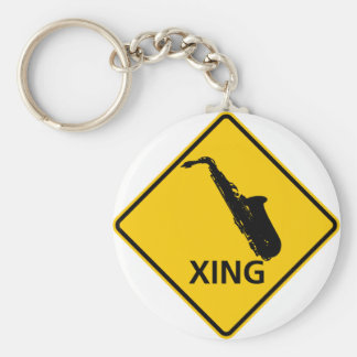 Saxophone Crossing Highway Sign Key Ring