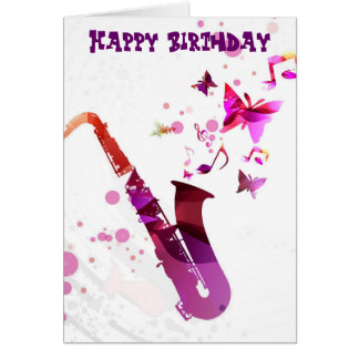 Saxophone cute music and butterflies birthday greeting card
