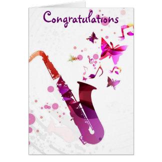 Saxophone cute music butterflies Congratulations Greeting Cards