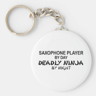 Saxophone Deadly Ninja by Night Key Ring