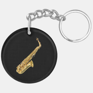 """Saxophone"" design gifts and products Double-Sided Round Acrylic Key Ring"