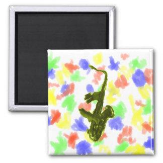 Saxophone design, green version square magnet