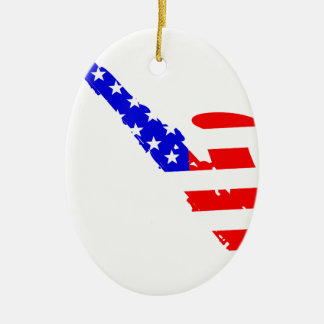 Saxophone Flag Background Ceramic Oval Decoration