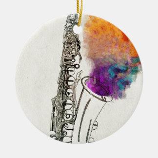 Saxophone Healing Round Ceramic Decoration
