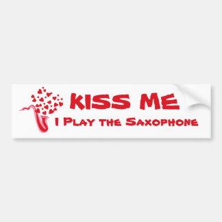 Saxophone Hearts Bumper Sticker