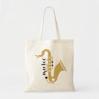 Saxophone Illustration In Golden Glitter Texture