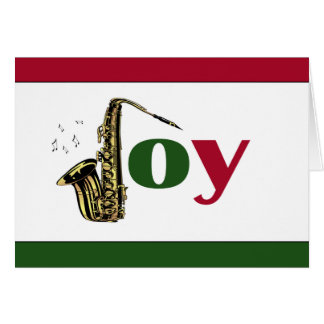Saxophone Joy Red Green White Greeting Card