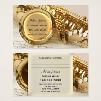 Saxophone Lessons Appointment Business Card