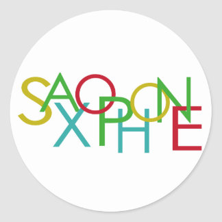 SAXOPHONE Letters Classic Round Sticker
