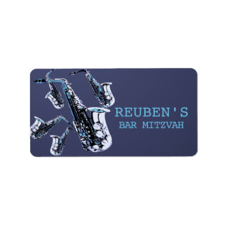Saxophone Mania Bar Mitzvah Address Label