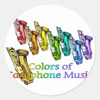 Saxophone music classic round sticker